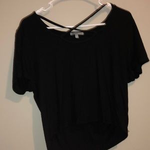 Black strappy front crop top